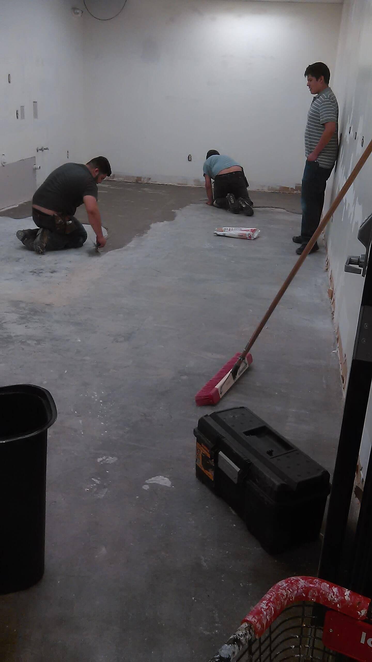 floor preparation in break room