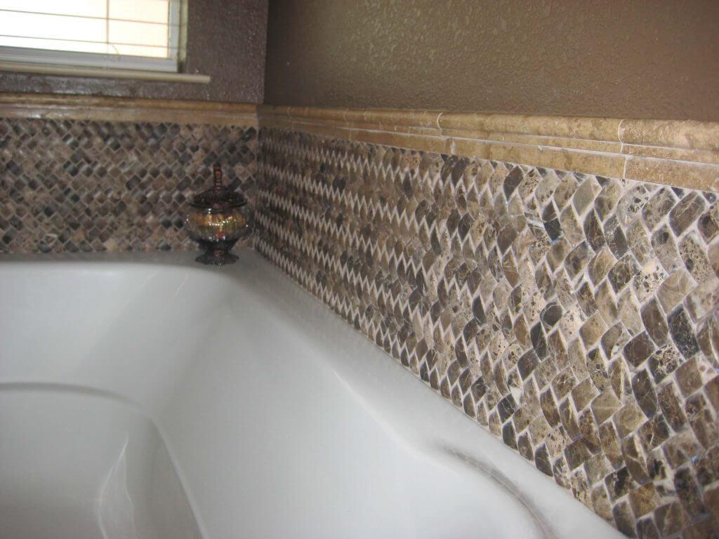 marble mosaic around tub