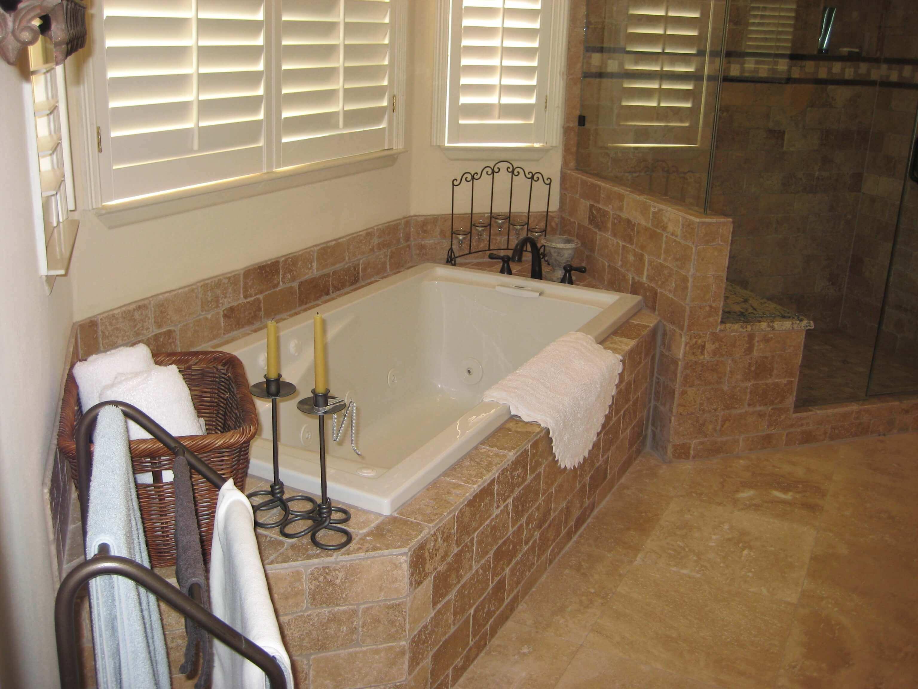 tub surround in travertine stone