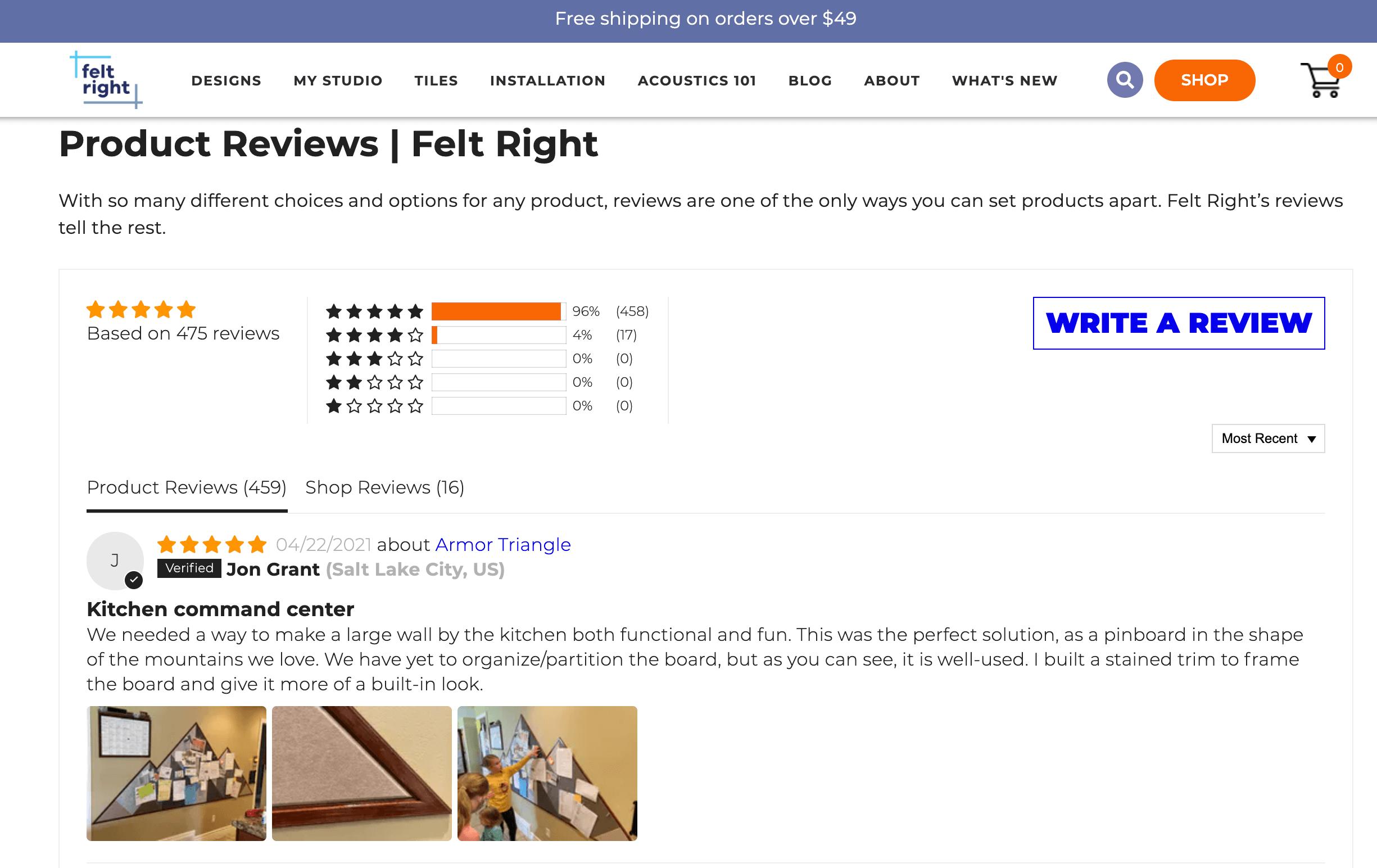 Felt Right customer reviews
